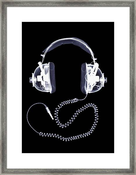 X-ray Of Headphones Framed Print