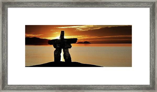 Xl Inukshuk At Sunset Framed Print by Sharply done