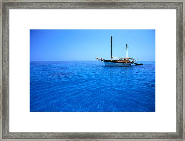 Yacht Anchored In Waters Of Gulf Of Framed Print