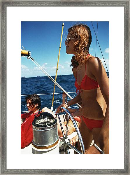 Yachting In The Caribbean Framed Print
