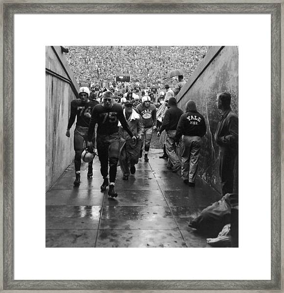 Yale Football Team Leaves Field Framed Print