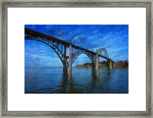 Yaquina Bay Bridge From South Beach Framed Print