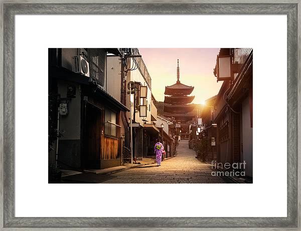 Yasaka Pagoda And Sannen Zaka Street In Framed Print