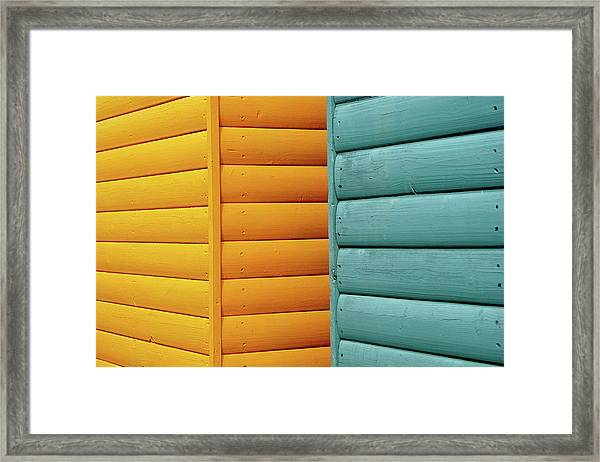 Yellow & Blue Beach Huts Abstract Framed Print