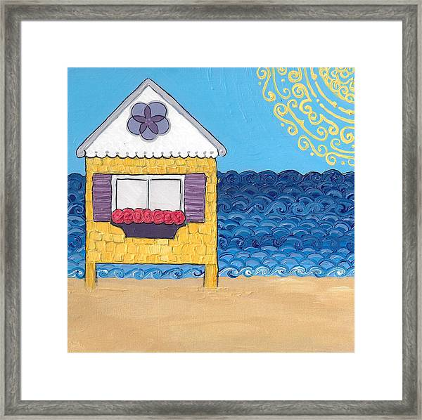 Yellow Cottage On The Beach Framed Print