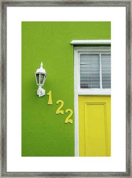 Yellow Door And Green Wall In Bo-kaap Framed Print