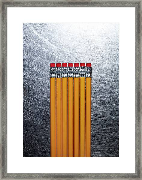 Yellow Pencils With Erasers On Framed Print