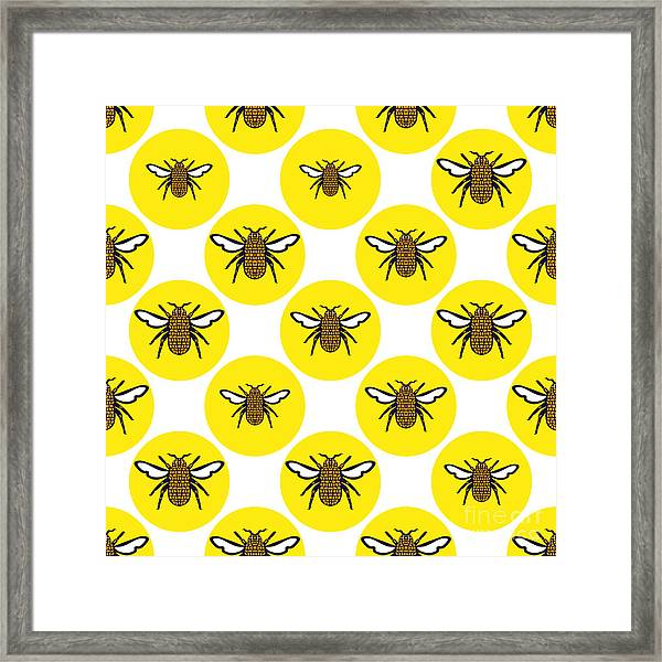 Yellow Print Design Background Of Framed Print
