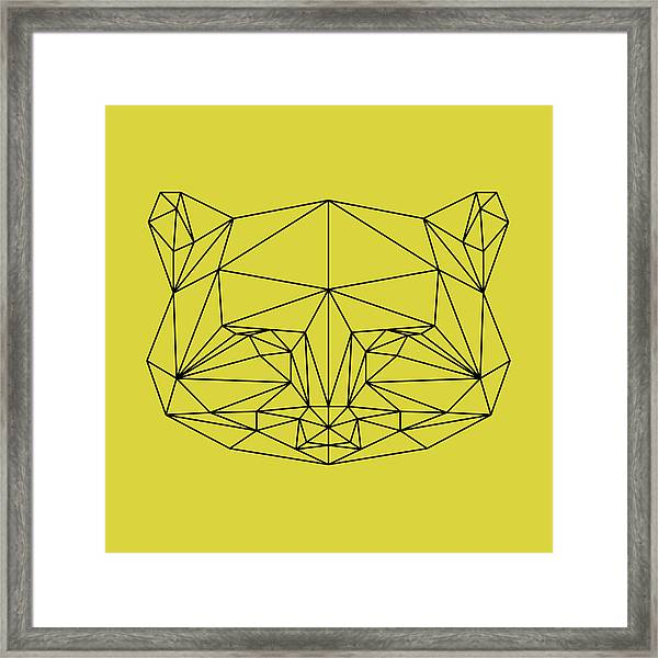 Yellow Raccoon Polygon Framed Print