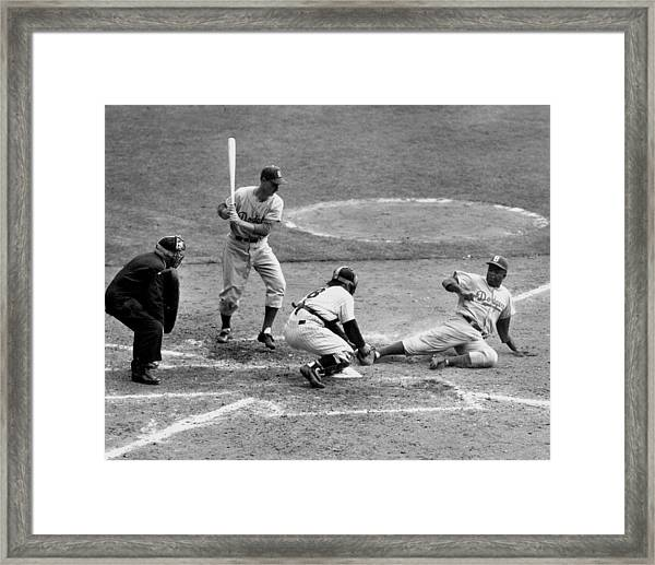 Yogi Has It Out. Jackie Robinson, With Framed Print