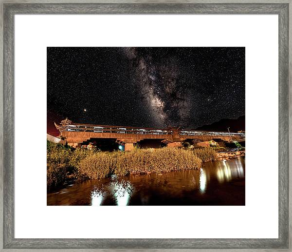 Framed Print featuring the photograph Yonghe Bridge Milky Way by William Dickman