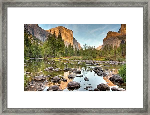 Yosemite Valley Reflected In Merced Framed Print