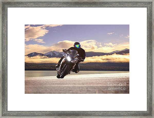Young Bike Man Riding  Motorcycle In Framed Print