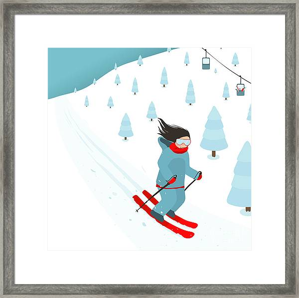 Young Brightly Equipped Girl Slides Framed Print by Popmarleo