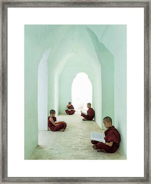 Young Buddhist Monks Reading In Temple Framed Print