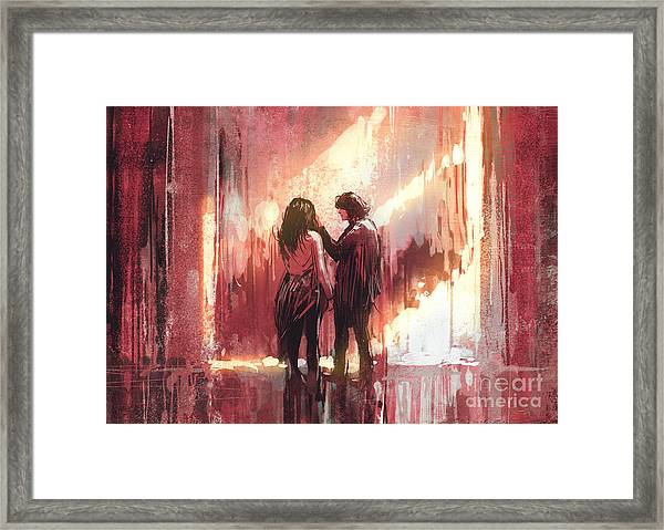 Young Couple In Love Outdoor,digital Framed Print