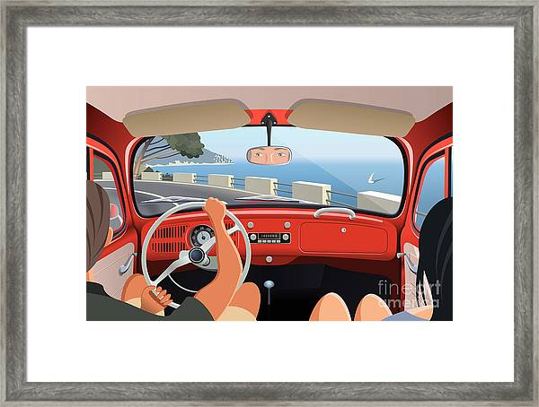 Young Couple Tavelling On Coast Road In Framed Print