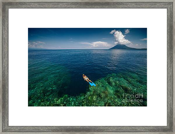 Young Lady Snorkeling Over The Reef Framed Print by Dudarev Mikhail