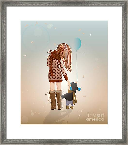 Young Mother With A Child Walking Framed Print