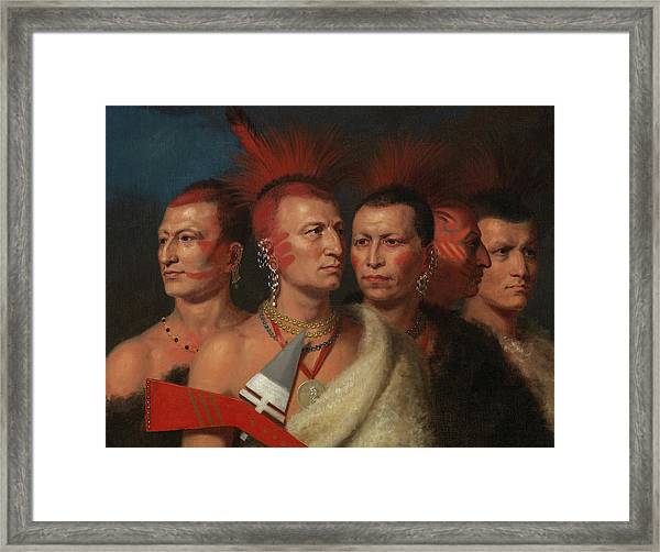 Young Omahaw, War Eagle, Little Missouri, And Pawnees, 1821 Framed Print