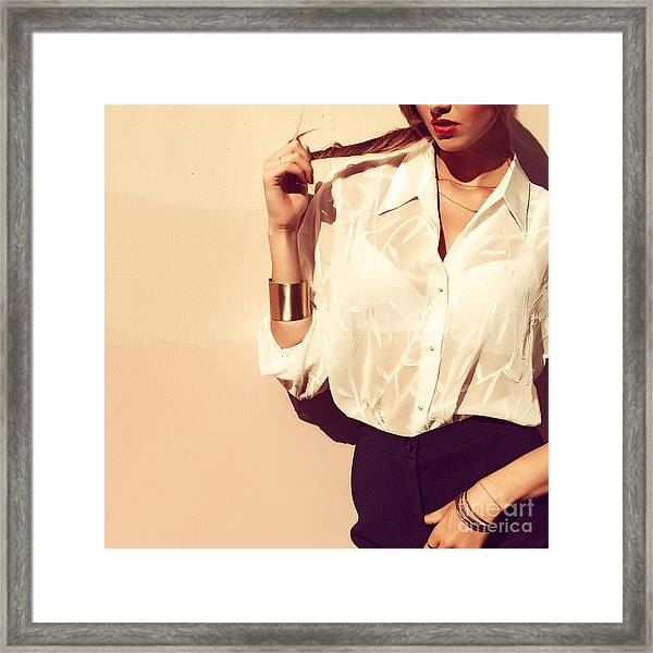 Young Pretty Fashion Blonde Model With Framed Print