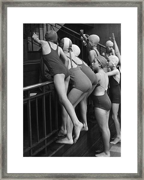 Young Swimmers Framed Print