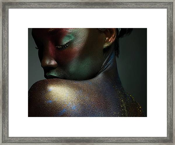 Young Woman Covered In Metallic Make Up Framed Print by Image Source
