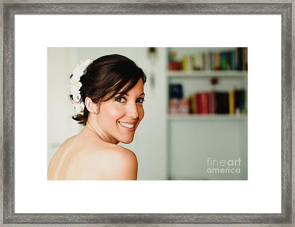 Young Woman From Behind Smiling Framed Print