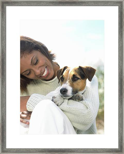 Young Woman Holding Jack Russell Framed Print