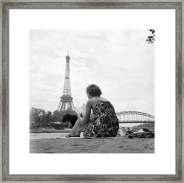 Young Woman Taking In The Sun On The Framed Print by Keystone-france