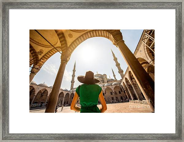 Young Woman Traveler In Black Hat And Framed Print