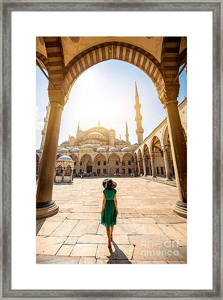Young Woman Traveler In The Green Dress Framed Print