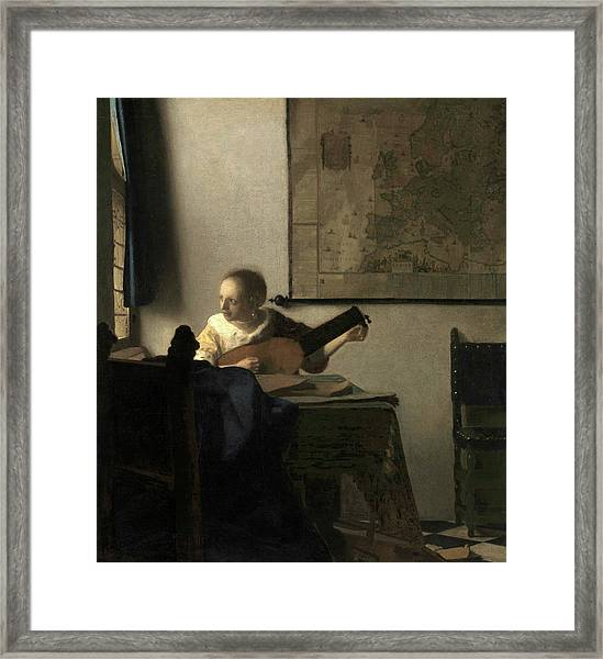 Young Woman With A Lute, 1663 Framed Print
