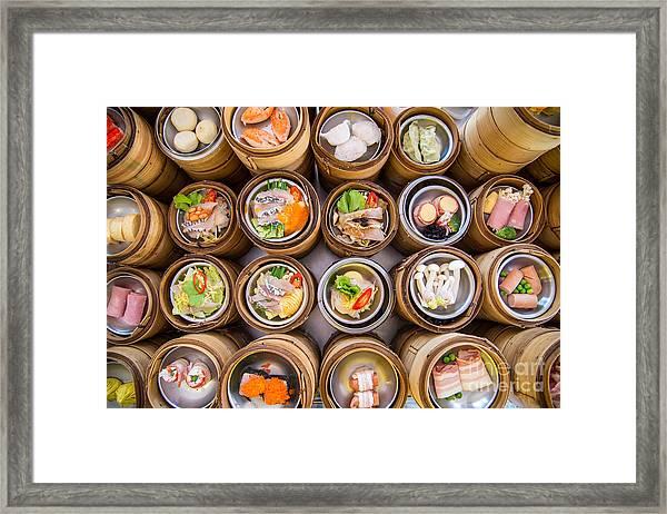 Yumcha, Dim Sum In Bamboo Steamer Framed Print by Martinho Smart