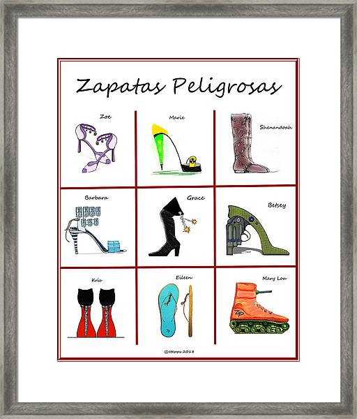 Zapatas Peligrosas Poster Framed Print