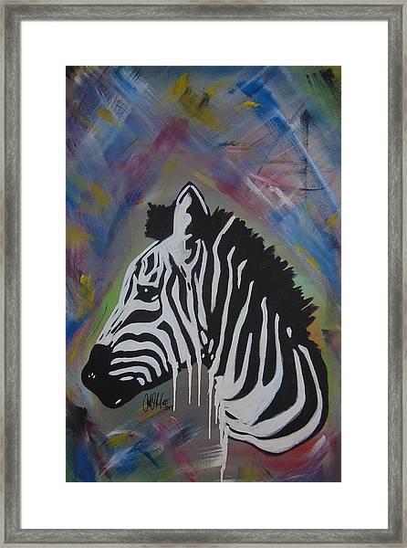 Zebra Drip Framed Print