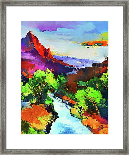 Framed Print featuring the painting Zion - The Watchman And The Virgin River by Elise Palmigiani