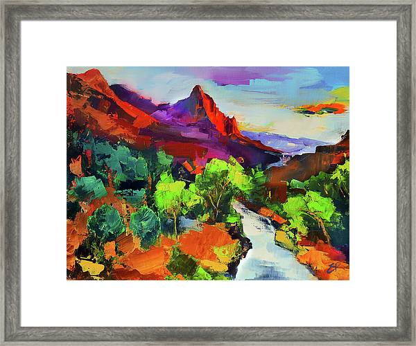 Framed Print featuring the painting Zion - The Watchman And The Virgin River Vista by Elise Palmigiani