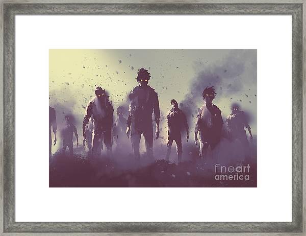 Zombie Crowd Walking At Night,halloween Framed Print