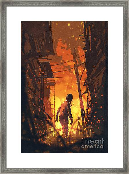 Zombie Looking Back With Burning City Framed Print