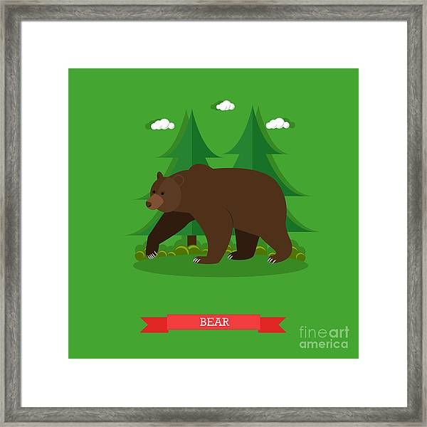 Zoo Concept Banner. Wildlife Bear Framed Print