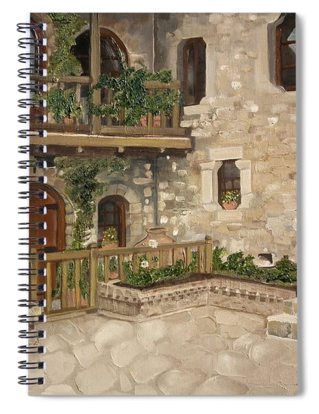 Spiral Notebook featuring the painting Greek Courtyard - Agiou Stefanou Monastery -balcony by Jan Dappen