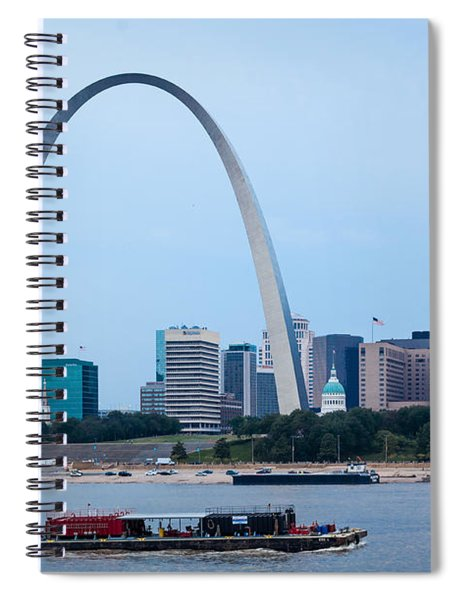 Downtown St Louis With Barge Spiral Notebook