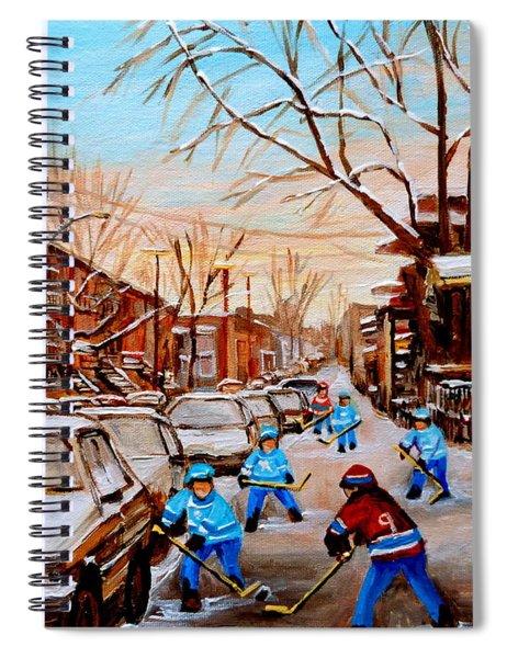 Hockey Art- Verdun Street Scene - Paintings Of Montreal Spiral Notebook