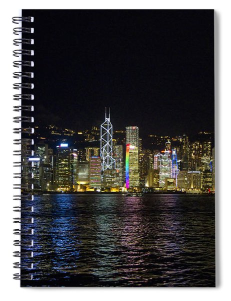 Night View Of Hong Kong Victoria Harbour  Spiral Notebook