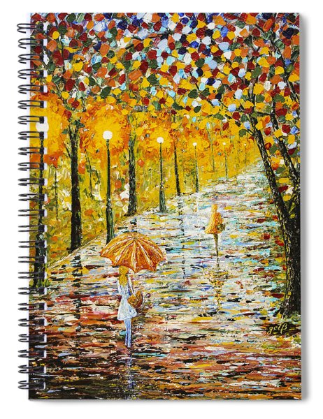 Rainy Autumn Beauty Original Palette Knife Painting Spiral Notebook
