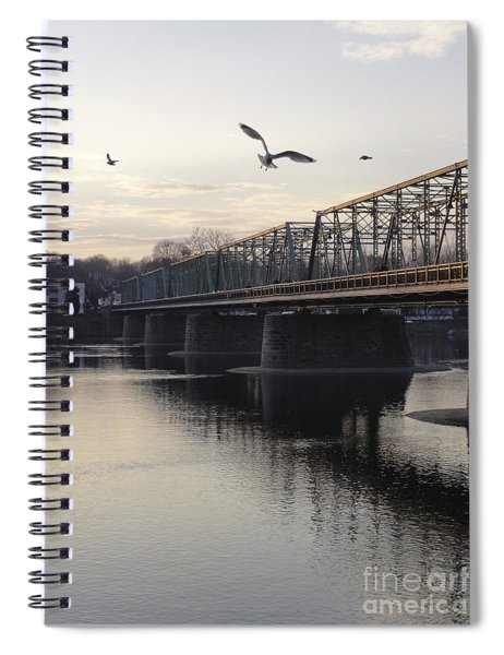 Gulls At The Bridge In January Spiral Notebook