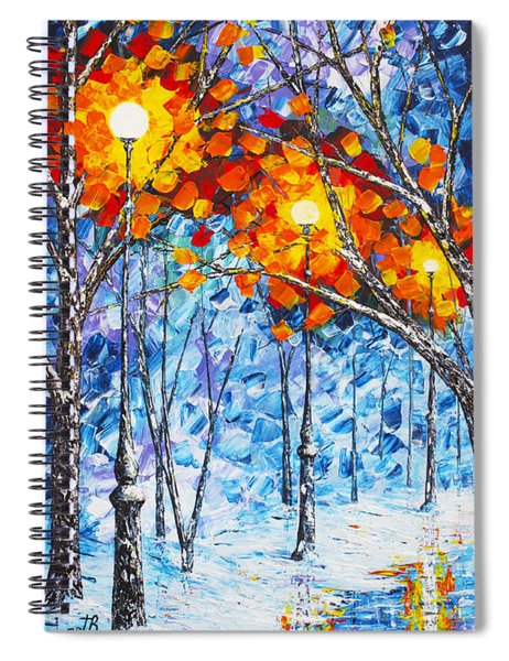 Silence Winter Night Light Reflections Original Palette Knife Painting Spiral Notebook