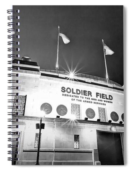 0879 Soldier Field Black And White Spiral Notebook