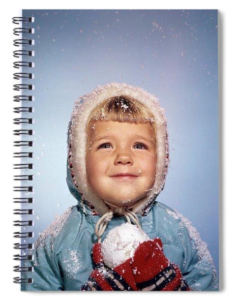 1960s Little Girl Holding Snow Ball Spiral Notebook